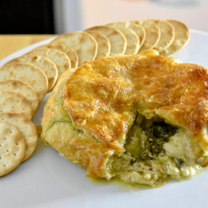 Baked Brie with Pesto - Langenstein's Catering